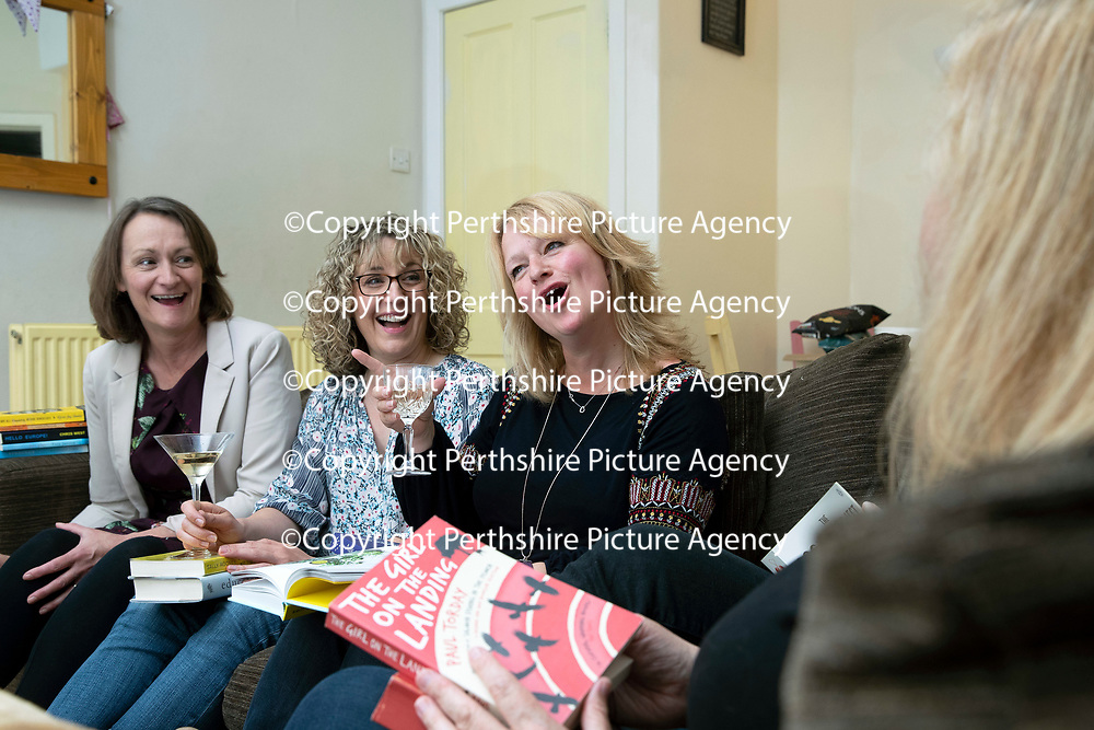 Elaine Hunter pictured with her 'Ladies Book Group' friends where they talk about books and enjoy each others company with a glass of wine!…13.06.18<br />Picture by Graeme Hart.<br />Copyright Perthshire Picture Agency<br />Tel: 01738 623350  Mobile: 07990 594431