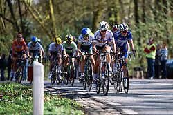 Lizzie Armitstead leads the front group of around 25 with Kasia Niewiadoma as the Oude Kwaremont approaches - Women's Ronde van Vlaanderen 2016. A 141km road race starting and finishing in Oudenaarde, Belgium on April 3rd 2016.
