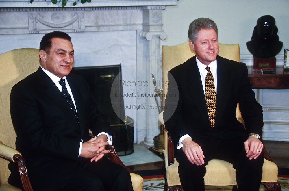 President Clinton meets with Egyptian President Hosni Mubarak in the Oval Office of the White House March 10, 1997 in the Washington, DC.