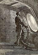 Captain Nemo at the helm From the Book Twenty thousand leagues under the seas, or, The marvelous and exciting adventures of Pierre Aronnax, Conseil his servant, and Ned Land, a Canadian harpooner by Verne, Jules, 1828-1905 Published in Boston by J.R. Osgood in 1875