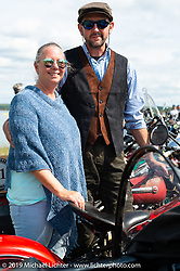 Jon Dobbs and Jaci Pruitt lined up for the panorama portrait in Aune Osborne Park in Sault Sainte Marie, the site of the official start of the Cross Country Chase motorcycle endurance run from Sault Sainte Marie, MI to Key West, FL. (for vintage bikes from 1930-1948). Thursday, September 5, 2019. Photography ©2019 Michael Lichter.