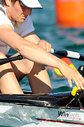 Munich, GERMANY,  GER W4X,  Kathrin BORON. checks the stroke rate,At the start, during the FISA World Cup at the Munich Olympic Rowing Course, Thur's.  08.05.2008  [Mandatory Credit Peter Spurrier/ Intersport Images] Rowing Course, Olympic Regatta Rowing Course, Munich, GERMANY