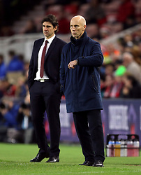 Swansea City manager Bob Bradley (right) and Middlesbrough manager Aitor Karanka during the Premier League match at the Riverside Stadium, Middlesbrough.
