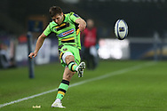 Piers Francis of Northampton Saints kicks a conversion. European Rugby Champions Cup, pool 2 match, Ospreys v Northampton Saints at the Liberty Stadium in Swansea, South Wales on Sunday 17th December 2017.<br /> pic by  Andrew Orchard, Andrew Orchard sports photography.