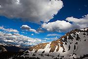 Views towards Rocky Mountain National Park from Parika Lake, Never Summer Wilderness, Colorado.