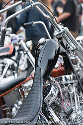 Johnny Branch's custom Panhead at the Born Free pre-party and Harley-Davidson Stampede at Costa Mesa Speedway. Costa Mesa, CA. USA. Thursday June 22, 2017. Photography ©2017 Michael Lichter.
