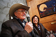 Dayton O. Hyde, 87, shares stories of how he met Black Hills Wild Horse Sanctuary program director Susan Watt during a special preview of Running Wild, a documentary on the life of wild horse rescuer Dayton O. Hyde, at Big Dog Vineyards in Milpitas, California, on March 8, 2013. (Stan Olszewski/SOSKIphoto)