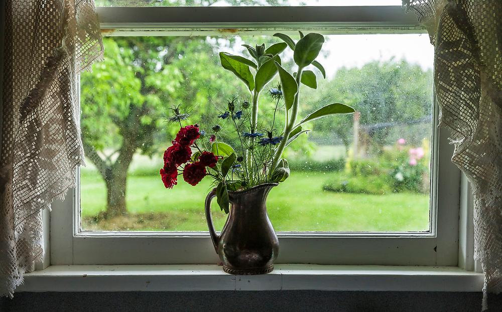 Flowers in the window of a farm cottage, Tir na nO'g Farm, Whidbey Island, Washington, USA.