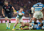Twickenham, United Kingdom. Pums's scrum half, Tomas CUBELLI, with a clearence pass, during the Old Mutual Wealth Series Rest Match: England vs Argentina, at the RFU Stadium, Twickenham, England, <br /> <br /> Saturday  26/11/2016<br /> <br /> [Mandatory Credit; Peter Spurrier/Intersport-images]