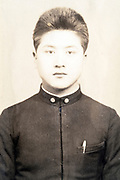 deteriorating identy portrait Japanese student early 1900s