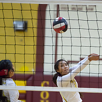 Outside hitter Cameron Tsosie (6) protects the sideline for the Cougars, in Tohatchi on Tuesday.