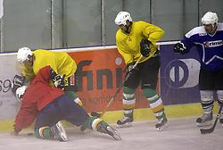 Ales Music and Nik Zupancic at second ice hockey practice of HDD Tilia Olimpija on ice in the new season 2008/2009, on August 19, 2008 in Hala Tivoli, Ljubljana, Slovenia. (Photo by Vid Ponikvar / Sportal Images)