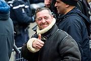 Nieuwjaarsontvangst voor Nederlandse genodigden op het Koninklijk Paleis op de Dam.<br /> <br /> op de foto:  Gennaro V. Pepe, beter bekend als de Damschreeuwer