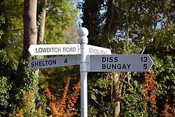Road sign, Waveney Valley, Suffolk, UK