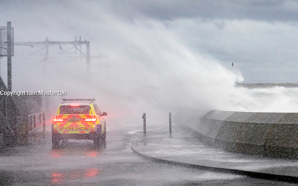 Saltcoats, Ayrshire,Scotland, UK. 13th Jan 2020. Huge waves crash against shore in Saltcoats during Storm Brendan. The storm affected the entire west coast of the UK and brought widespread travel disruption. Iain Masterton/Alamy Live News