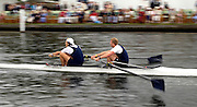 2005 Henley Royal Regatta, Henley on Thames, ENGLAND. 02.07.205  .left Kieron West left and Josh West move along Temple island at the start of his semi final the Silver Goblets and Nickalls'   Challenge cup. Peter Spurrier.   .email images@intersport-images.[Mandatory Credit Peter Spurrier/ Intersport Images] . HRR.