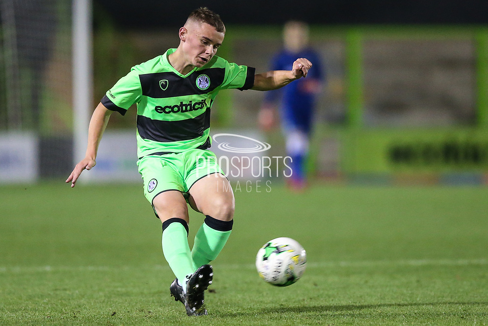 Forest Green Rovers Alfie Saunders(2) plays the ball forward during the FA Youth Cup match between U18 Forest Green Rovers and U18 Cheltenham Town at the New Lawn, Forest Green, United Kingdom on 29 October 2018.