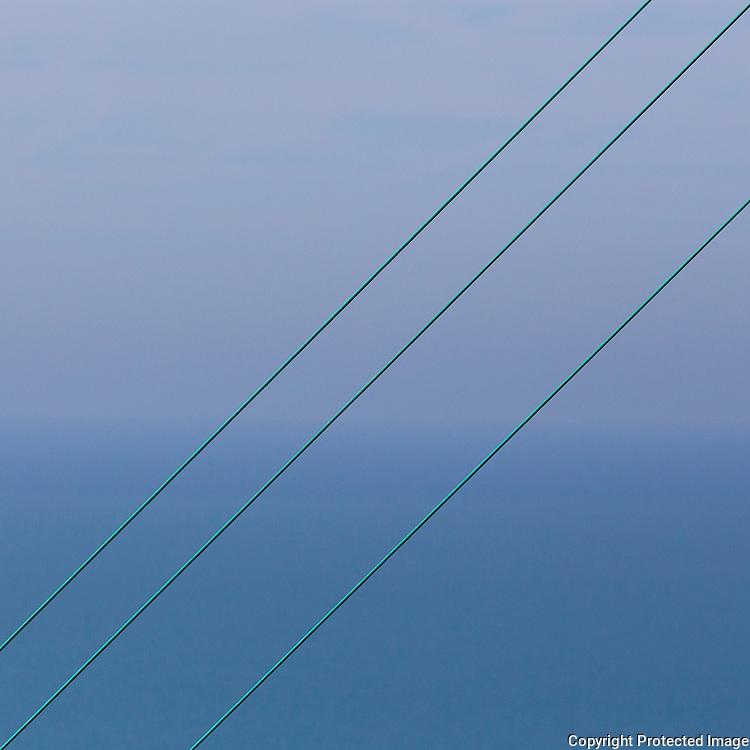 Power lines, the Warren, overlooking the Strait of Dover.
