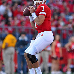 Sep 19, 2009; Piscataway, NJ, USA; Rutgers quarterback Tom Savage (7) looks for an open receiver during the first half of NCAA college football between Rutgers and Florida International at Rutgers Stadium.