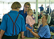 Amish Quilt and Art Sale, Fundraiser, Young Amish Couple with Child, Nicholas Stoltzfus House, Wyomissing, Berks Co.,