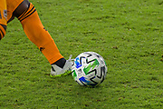 Detailed view of an Adidas MLS Soccer Game Ball during a MLS soccer game between the LAFC and the Houston Dynamo, Wednesday, Oct. 28, 2020, in Los Angeles. LAFC defeated Houston 2 - 1. (Dylan Stewart/Image of Sport)