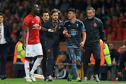 11th May 2017 - UEFA Europa League - Semi Final (2nd Leg) - Manchester United v Celta Vigo - Eric Bailly of Man Utd and Facundo Roncaglia of Celta Vigo continue to argue as they walk away together after being sent off - Photo: Simon Stacpoole / Offside.