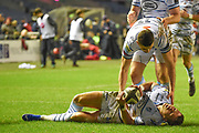 Jason Harries lies injured after scoring try during the Guinness Pro 14 2018_19 match between Edinburgh Rugby and Cardiff Blues at Murrayfield Stadium, Edinburgh, Scotland on 23 February 2019.