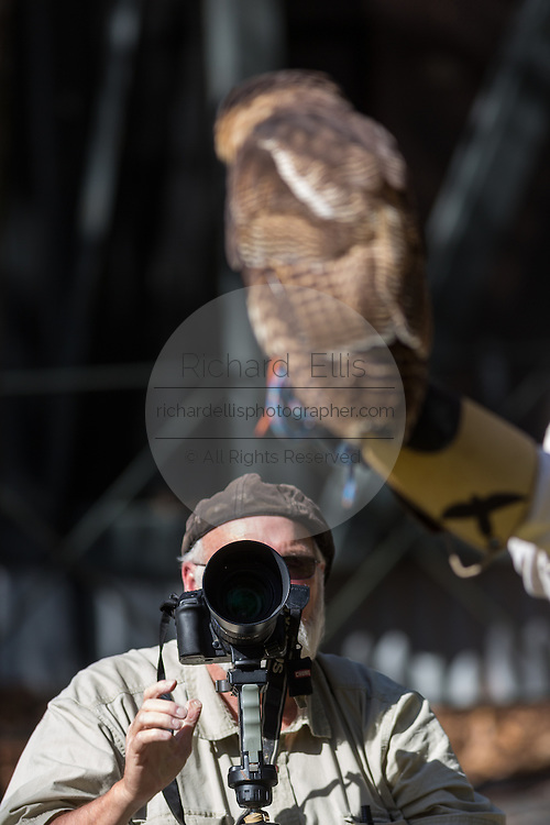 A photographer takes a shot of a Brown wood owl in at the Center for Birds of Prey November 15, 2015 in Awendaw, SC.