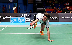 Alex Lane of Bristol Jets plays a diving shot - Photo mandatory by-line: Robbie Stephenson/JMP - 07/11/2016 - BADMINTON - University of Derby - Derby, England - Team Derby v Bristol Jets - AJ Bell National Badminton League