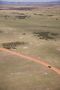 Landscape of the Maasai Mara National Reserve, seen from the air, in Kenya