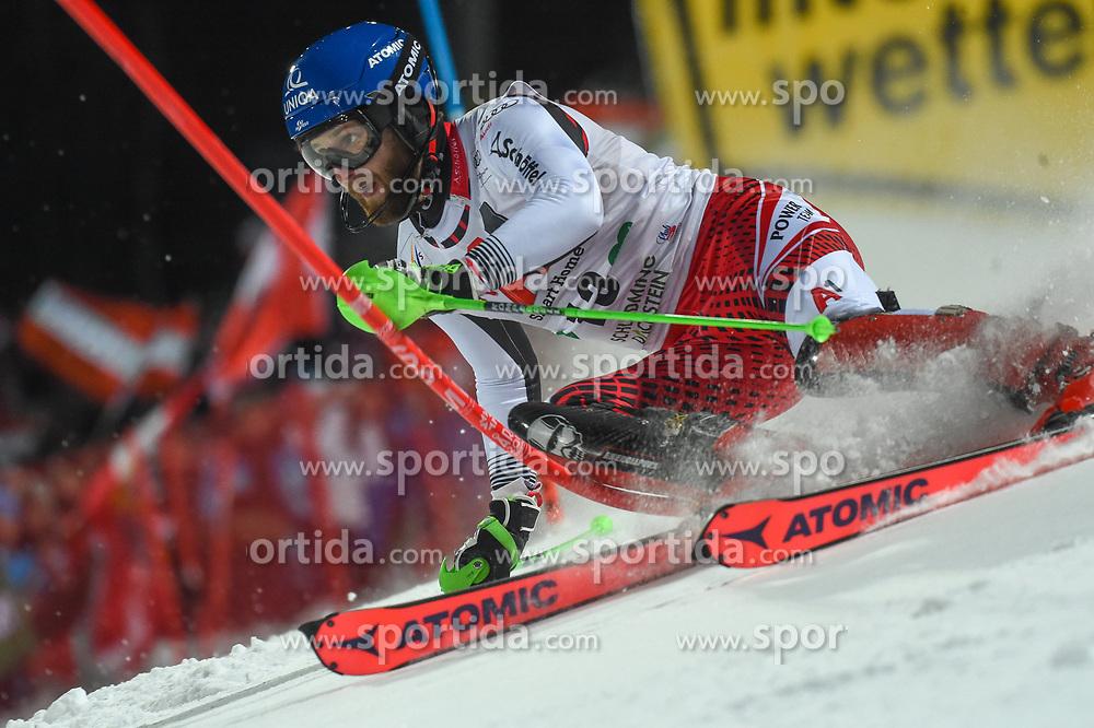 "29.01.2019, Planai, Schladming, AUT, FIS Weltcup Ski Alpin, Slalom, Herren, 1. Lauf, im Bild Marco Schwarz (AUT) // Marco Schwarz of Austria in action during his 1st run of men's Slalom ""the Nightrace"" of FIS ski alpine world cup at the Planai in Schladming, Austria on 2019/01/29. EXPA Pictures © 2019, PhotoCredit: EXPA/ Erich Spiess"