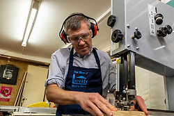 Pictured: Willie Rennie<br /><br />Scottish Liberal Democrat Leader Willie Rennie visited the The Men of Leith mens shed in Edinburgh today. The Men Of Leith Mens Shed  is a community project which focuses on bringing men together to tackle isolation, learn new skills and help the community..<br /><br />Ger Harley | EEm 19 November 2019