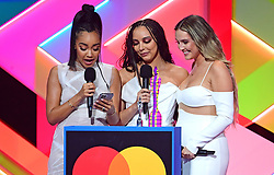 Little Mix accept the award for Best British Group during the Brit Awards 2021 at the O2 Arena, London. Picture date: Tuesday May 11, 2021.