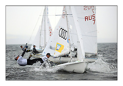 470 Class European Championships Largs - Day 1.Racing in grey and variable conditions on the Clyde..GER10, Ferdinand GERZ, Patrick FOLLMANN, Deutscher Touring Yacht Club