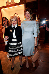 Left to right, LADY WYATT and her daughter PETRONELLA WYATT at a party to celebrate the opening of the Louis Vuitton Bond Street Maison, New Bond Street, London on 25th May 2010.