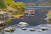 Rowboats on Agvatnet Lake above Å, Lofoten Islands, Norway.