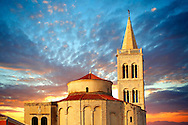 The Byzantine St Donat's Church & the Campinale bell tower of the St Anastasia Cathedral. Zadar, Croatia .<br /> <br /> Visit our MEDIEVAL PHOTO COLLECTIONS for more   photos  to download or buy as prints https://funkystock.photoshelter.com/gallery-collection/Medieval-Middle-Ages-Historic-Places-Arcaeological-Sites-Pictures-Images-of/C0000B5ZA54_WD0s