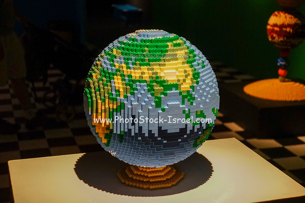 Globe Statue from Lego building blocks at the Holon Children's museum. Holon, Israel