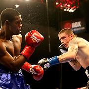VERONA, NY - JUNE 09:  Kermen Lejarraga (R) punches Jose Abreu during a ShoBox boxing match at the Turning Stone Resort Casino on June 9, 2017 in Verona, New York. (Photo by Alex Menendez/Getty Images) *** Local Caption *** Kermen Lejarraga; Jose Abreu