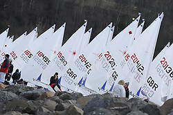 Day 1 of the RYA Youth National Championships 2013 held at Largs Sailing Club, Scotland from the 31st March - 5th April. ...For Further Information Contact..Matt Carter.Racing Communications Officer.Royal Yachting Association.M: 07769 505203.E: matt.carter@rya.org.uk ..Image Credit Marc Turner / RYA..