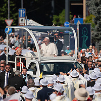 Pope Francis arrives to celebrate mass for the closing of the International Eucharistic Congress held on Heroes Square in Budapest, Hungary on Sept. 12, 2021. ATTILA VOLGYI