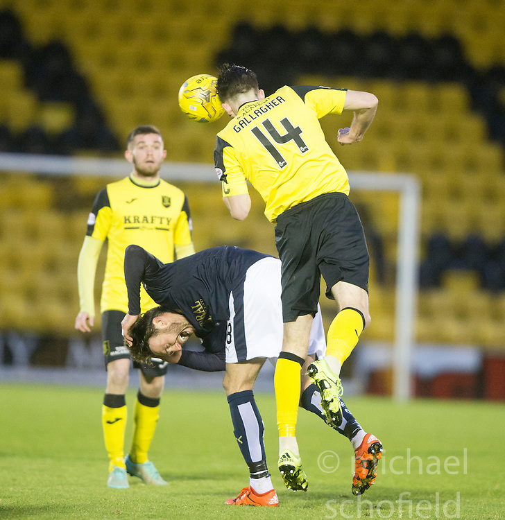Falkirk's Lee Miller reacts to a tackle by Livingston's Gallagher. <br /> Livingston 1 v 1 Falkirk, Scottish Championship game at The Tony Macaroni Arena at 23/1/2016.