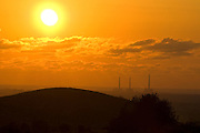 Israel, flues of the Hadera Power station at sunset