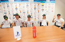 Vesna Fabjan, Katja Visnar, Barbara Jezersek, Anja Erzen and Alenka Cebasek during press conference of Slovenian Women Cross Country team, on September 20, 2012 in SZS, Ljubljana, Slovenia. (Photo By Vid Ponikvar / Sportida)