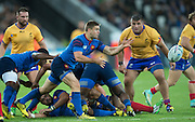 London, Great Britain, Rory KOCKOTT, get's the ball away, during a Pool D game,     France vs Romania. 2015 Rugby World Cup. Venue. The Stadium Queen Elizabeth Olympic Park. Stratford. East London. England,, Wednesday  23/09/2015. <br /> [Mandatory Credit; Peter Spurrier/Intersport-images]