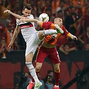 Galatasaray's Burak Yilmaz (R) and Besiktas's Tomas Sivok (L) during their Turkish Super League derby match Galatasaray between Besiktas at the AliSamiYen Spor Kompleksi TT Arena at Seyrantepe in Istanbul Turkey on Sunday, 24 May 2015. Photo by Aykut AKICI/TURKPIX
