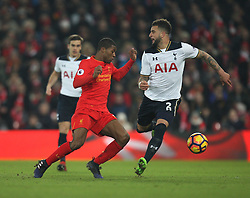 Georginio Wijnaldum of Liverpool (L) and Kyle Walker of Tottenham Hotspur in action - Mandatory by-line: Jack Phillips/JMP - 11/02/2017 - FOOTBALL - Anfield - Liverpool, England - Liverpool v Tottenham Hotspur - Premier League