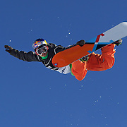 Manuel Pietropoli, Italy, flying high during his ninth place finish during the Men's Half Pipe Finals in the LG Snowboard FIS World Cup, during the Winter Games at Cardrona, Wanaka, New Zealand, 28th August 2011. Photo Tim Clayton.
