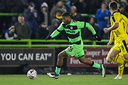 Forest Green Rovers Reuben Reid(26) runs forward during the The FA Cup 1st round replay match between Forest Green Rovers and Oxford United at the New Lawn, Forest Green, United Kingdom on 20 November 2018.