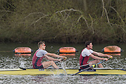 Caversham. Berkshire. UK<br /> Men's pair, Rory GIBBS and Matthew ALDRIDGE, competing at the 2016 GBRowing U23 Trials at the GBRowing Training base near Reading, Berkshire.<br /> <br /> Monday  11/04/2016 <br /> <br /> [Mandatory Credit; Peter SPURRIER/Intersport-images]